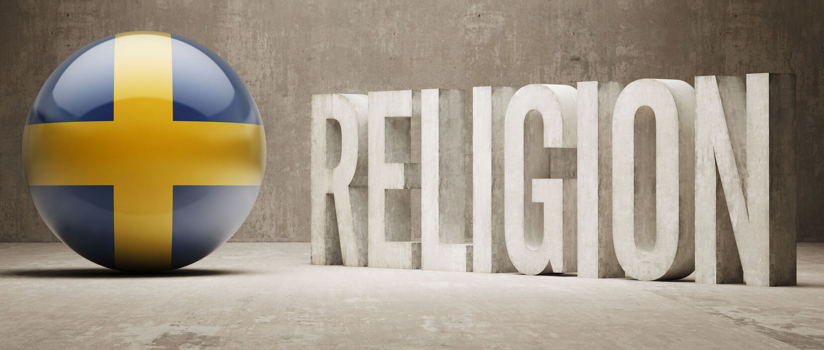 a ball with the swedish flag and the word religion