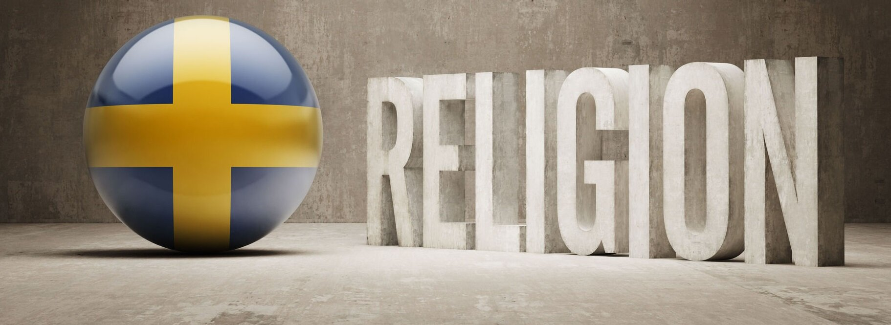 "A ball with the swedish flag aside the world ""religion"""